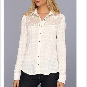 Free People Tops - Free People  small Ivory  lace Button Down Shirt
